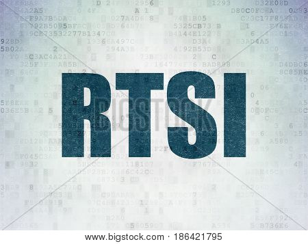 Stock market indexes concept: Painted blue word RTSI on Digital Data Paper background