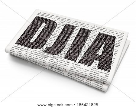 Stock market indexes concept: Pixelated black text DJIA on Newspaper background, 3D rendering
