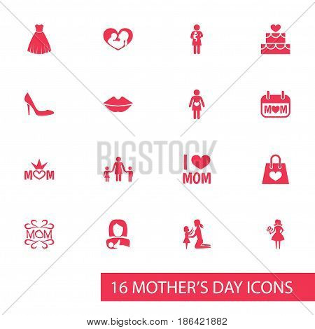Mothers Day Icon Design Concept. Set Of 16 Such Elements As Pregnancy, Pastry And Holiday. Beautiful Symbols For Children, Text And Love.