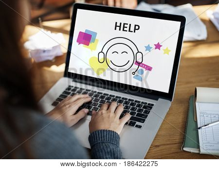 Illustration of contact us online customer services on laptop