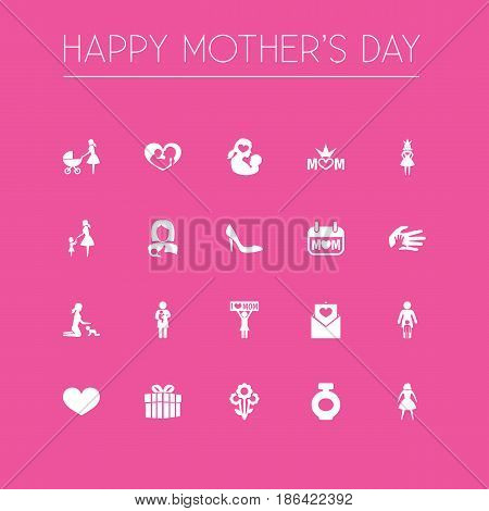 Mothers Day Icon Design Concept. Set Of 20 Such Elements As Letter, Soul And Infant. Beautiful Symbols For Ribbon, Care And Gift.