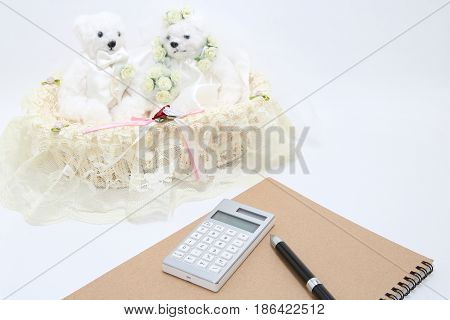 Newlyweds and calculator on white background. wedding budget concepts.