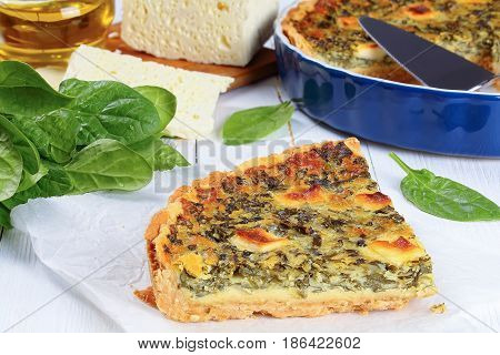Spinach, Cheese Quiche Florentine Cut In Slices