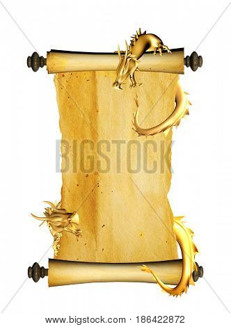 Two golden eastern dragons and scroll of old parchment. Object isolated on white background. Copy space for your text. 3d render