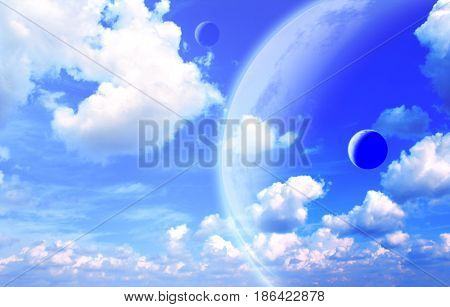 Fantastic sky with white clouds and three planets. 3d render. Elements of this image furnished by NASA