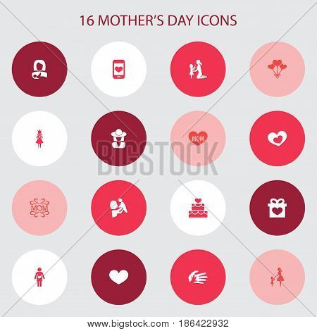 Mothers Day Icon Design Concept. Set Of 16 Such Elements As Kid, Mam And Queen. Beautiful Symbols For Woman, Headgear And Decoration.