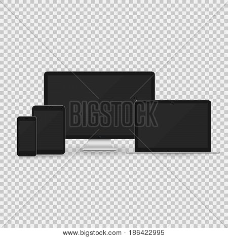 Vector illustration of realistic computer monitor laptop tablet pc and smart phone with empty screen over transparent background for your design