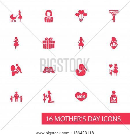 Mothers Day Icon Design Concept. Set Of 16 Such Elements As Placard, Gift To Mother And Child. Beautiful Symbols For Ribbon, Heart And Daughter.