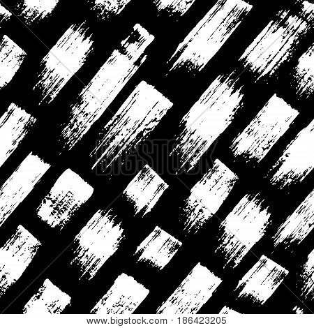 Vector seamless pattern with brush stripes and strokes. White color on Black background. Hand painted grange texture. Ink geometric elements. Fashion modern style. Endless fabric print. Retro