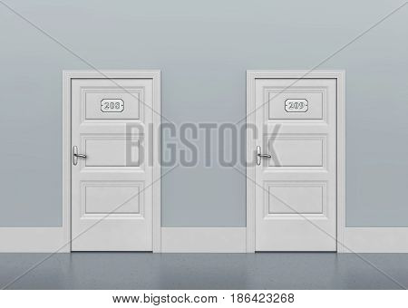 Two white doors with metal plates and door number. 3D rendering