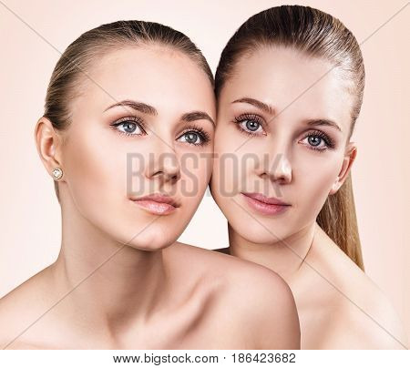 Collage of two young women with healthy clear skin. Over biege background.