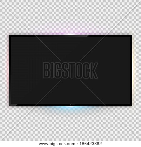 Vector illustration of realistic tv screen template with backlight ambient lighting and empty screen over transparent background for your design poster