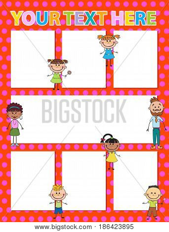 Vector brochure backgrounds with cartoon children. Infographic template design. Courtesy lesson for children rights to the banner advertisement for children illustration vertical