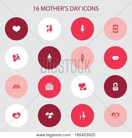 Mothers Day Icon Design Concept. Set Of 16 Such Elements As Gift, Lady And Gift To Mother. Beautiful Symbols For Care, Soul And Infant.