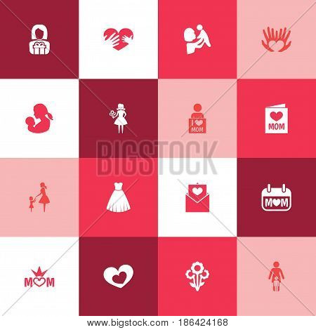 Mothers Day Icon Design Concept. Set Of 16 Such Elements As Woman, Mom And Shape. Beautiful Symbols For Envelope, Letter And Holiday.