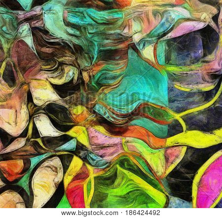 Swirling Shapes, Color and Lines.   3D rendering