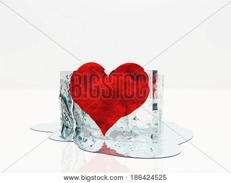 Heart in ice melting   3D rendering