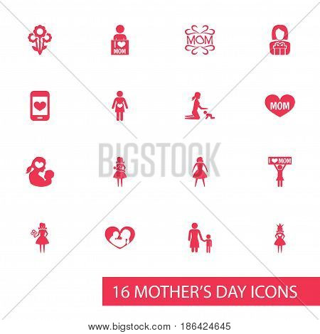 Mothers Day Icon Design Concept. Set Of 16 Such Elements As Female, Playing And I Love Mom. Beautiful Symbols For Smartphone, Mam And Woman.