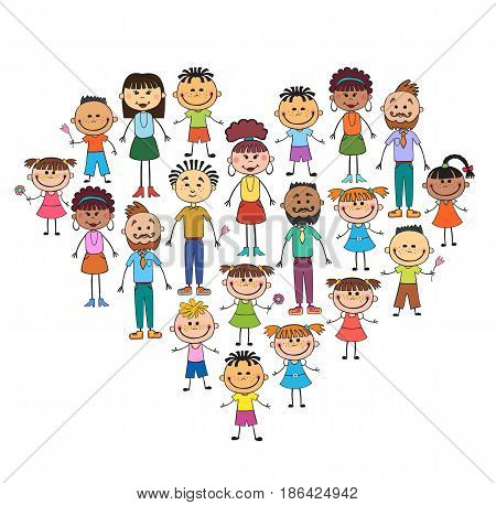people in heart shaped frame vector face love smile illustration, childhood, kid, global associations, unions, internationally crowd many society, joy, family