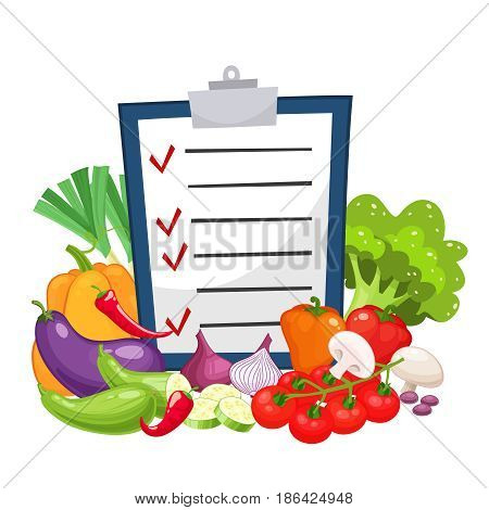 Diet menu with a group of vegetables.Fresh carrot, tomato, onion, broccoli, cabbage, garlic, cucumber, chili pepper and radish. Vegetarian food, organic shop design. Cartoon style vector illustration