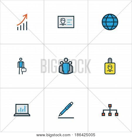 Trade Colorful Outline Icons Set. Collection Of Worker, Pencil, Network And Other Elements. Also Includes Symbols Such As Global, Worker, Signing.