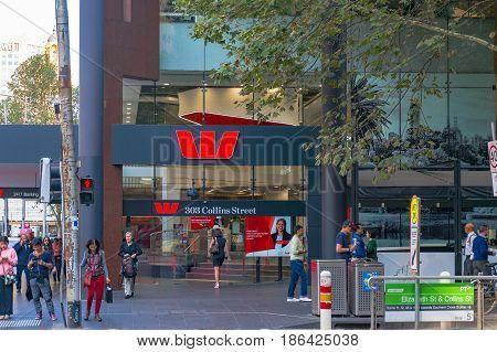 Westpac Bank Branch On Collins Street In Melbourne Cbd