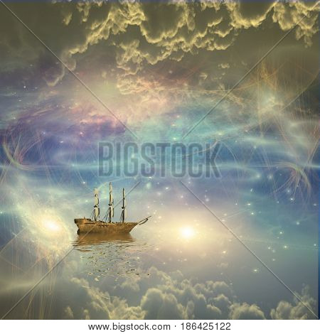 Sailing ship sails through the stars   3D rendering    Some elements provided courtesy of NASA