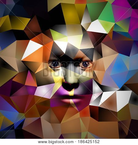 human face on colorful polygonal background   3D rendering
