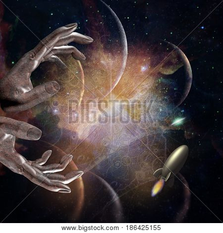 abstract space with hands, signs and rocket   3D rendering    Some elements provided courtesy of NASA