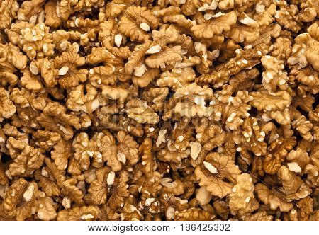 Background of walnuts close up.