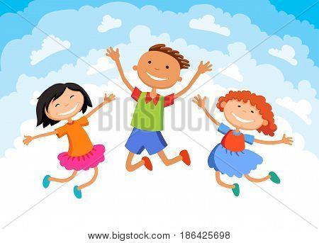 kids jump on clouds design over sky background illustration cartoon
