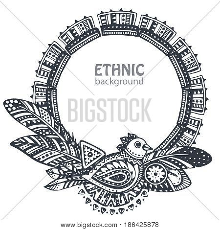 Beautiful frame with hand drawn ethnic elements, birds, arrows, feathers. Black and white tribal vector template for your design.