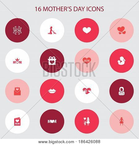 Mothers Day Icon Design Concept. Set Of 16 Such Elements As Soul, Invitation And Text. Beautiful Symbols For Woman, Balloon And Queen.