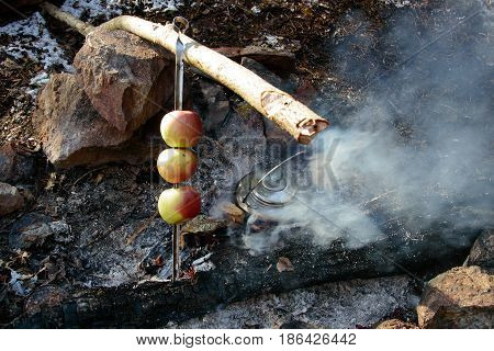 Cooking on the fire in the campaign. Baked on the fire Apple. Vitamins for wild hikers. Dining stop for a meal in tourism. Cooking on the wild nature tourists.