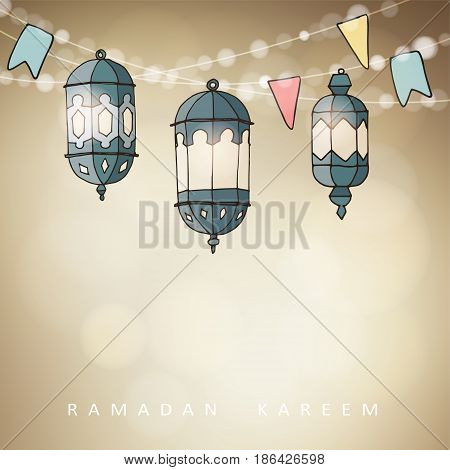 Hand drawn ornamental Arabic lanterns with string of lights and party flags. Greeting card, invitation for Muslim community holy month Ramadan Kareem, vector illustration background