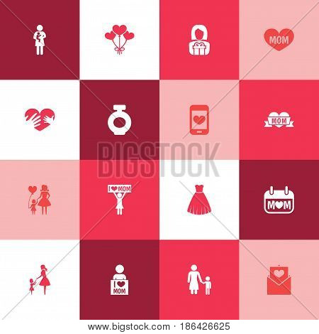 Mothers Day Icon Design Concept. Set Of 16 Such Elements As Text, Decoration And Letter. Beautiful Symbols For Day, Son And Child.