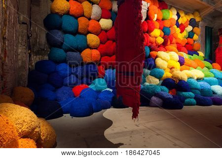 VENICE ITALY - MAY 10: Installation view of work by Sheila Hicks's Escalade Beyond Chromatic Lands at the 57th Venice Biennale on May 10 2017