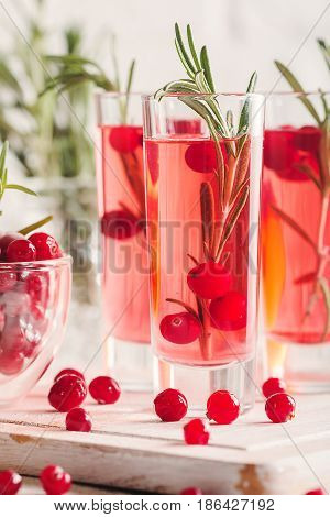Refreshing drink with cranberries and rosemary on white wooden background, selective focus, copy space