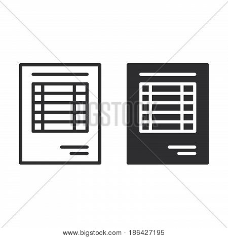 Sheet document line and solid icon outline and filled vector sign linear and full pictogram isolated on white. Invoice symbol logo illustration