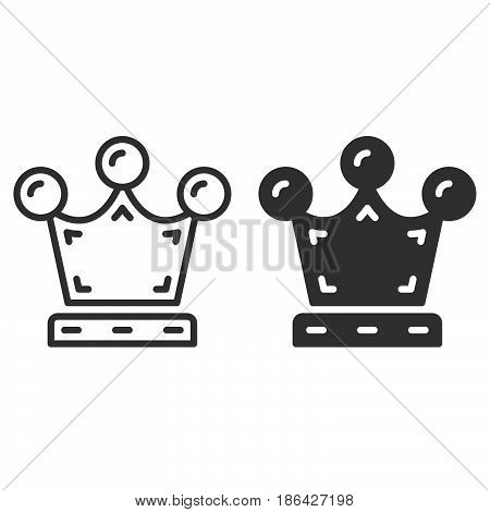 Crown line and solid icon outline and filled vector sign linear and full pictogram isolated on white. Premium quality symbol logo illustration