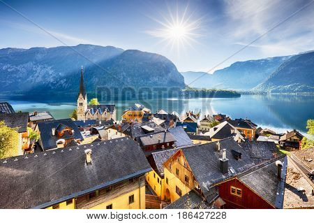 Austria landscape in Hallstatt Alp lake mountain