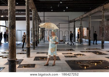VENICE ITALY - MAY 10: Installation view of work by Liu Jianhua in Square at the 57th Venice Biennale on May 10 2017