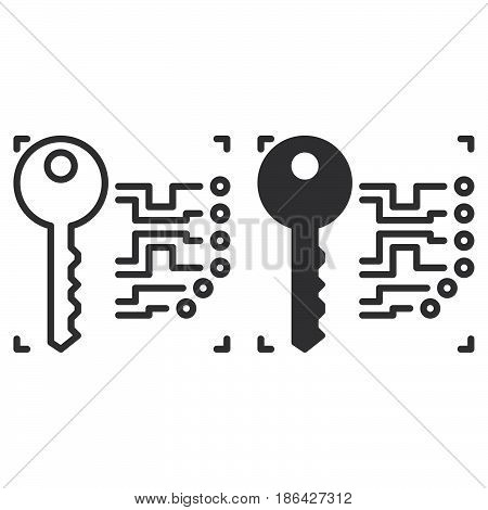 Electronic key line and solid icon outline and filled vector sign linear and full pictogram isolated on white. Symbol logo illustration