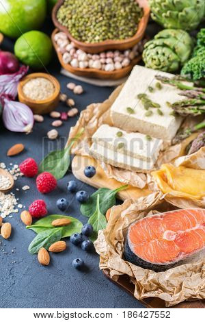 Selection Assortment Of Healthy Balanced Food For Heart, Diet