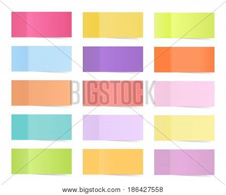 Colored paper stickers for remember isolated on white background.Collection of colorful sticky notes, transparent shadows. Vector illustration