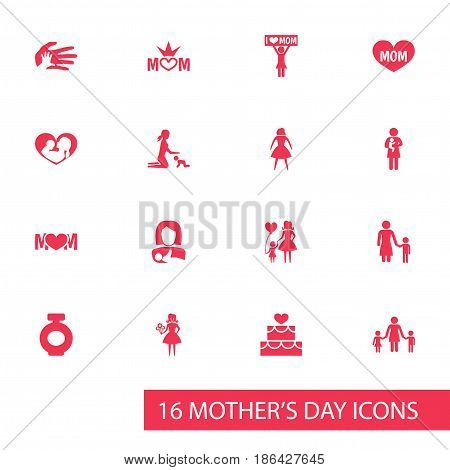 Mothers Day Icon Design Concept. Set Of 16 Such Elements As Newborn Baby, Woman And Fragrance. Beautiful Symbols For Family, Newborn And Playing.