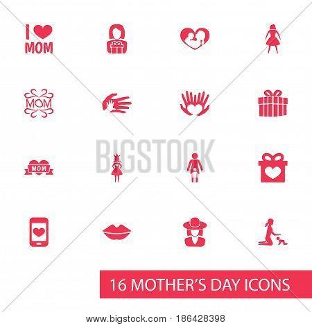 Mothers Day Icon Design Concept. Set Of 16 Such Elements As Infant, Playing And Mouth. Beautiful Symbols For I, Heart And Palm.