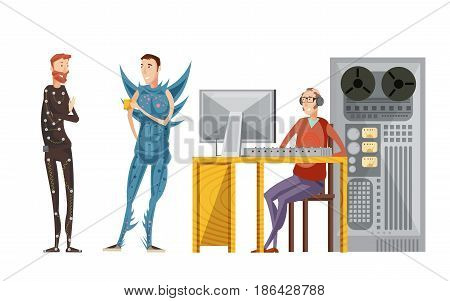 Making movie sound recording set with engineer with audio equipment and actors in costumes isolated vector illustration