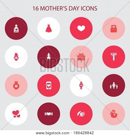 Mothers Day Icon Design Concept. Set Of 16 Such Elements As Soul, Evening Gown And Letter. Beautiful Symbols For Gift, Perfume And Family.