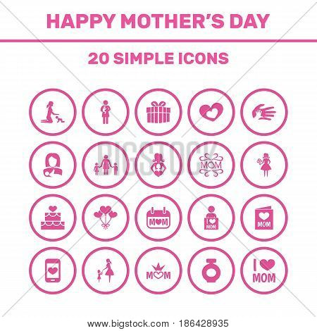 Mothers Day Icon Design Concept. Set Of 20 Such Elements As Invitation, Mom And Emotion. Beautiful Symbols For I, Holiday And Hand.